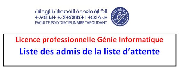 Génie Informatique - Liste des admis de la liste d attente