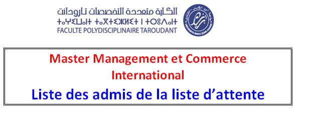 Master Management et Commerce International -Liste des admis de la liste d attente